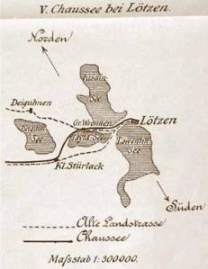 Przebieg starych i nowych dróg wytyczonych w XIX wieku prowadzących do Giżycka (reprodukcja z: R. Grabo, Die Ostpreussischen Strassen im 18. und 19. Jahrhundert, Konigsberg 1910)