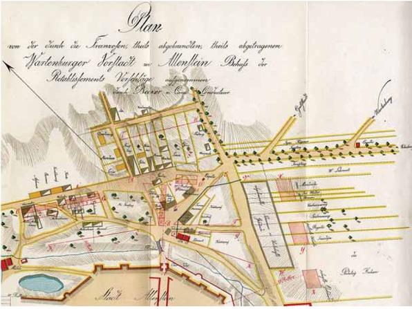 Fragment planu Olsztyna z 1808 r. Po prawej widoczne obsadzenia alejowe dróg dojazdowych do Olsztyna (reprodukcja z H. Bonk, Geschichte der Stadt Allenstein, Allenstein 1914 r.)