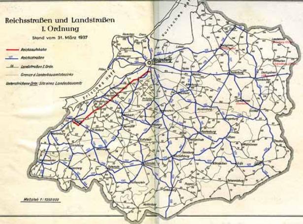 Mapa Prus Wschodnich przedstawiająca sieć drogową prowincji w 1937 roku