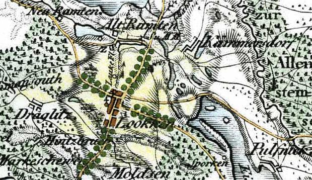 Łukta, pow. ostródzki. Odcinki wjazdowe do wsi naniesione na mapie Schröttera z końca XVIII w. Opracowanie rysunku M. Zwierowicz