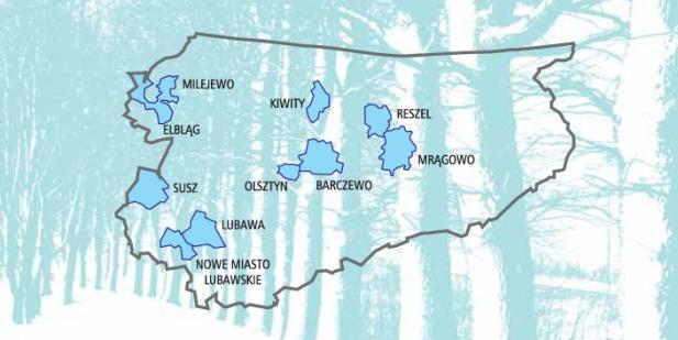 Lokalizacja badanych gmin w obrębie województwa warmińsko-mazurskiego