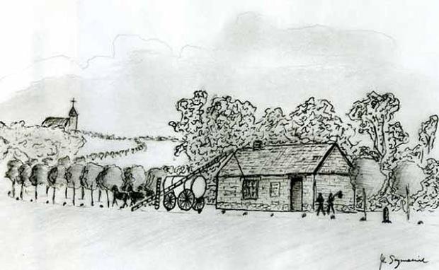 Dom szosowy z towarzyszącymi mu: szlabanem, aleją i kamieniami przydrożnymi (Rys. M. Szymaniuk)