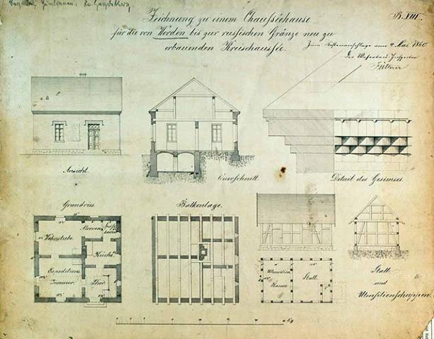 Projekt domu szosowego z budynkiem gospodarczym z 1865 roku w miejscowości Werder pow. Heydekrug (obecnie na terenie Litwy). Reprodukcja z Archiwum Państwowego w Olsztynie.