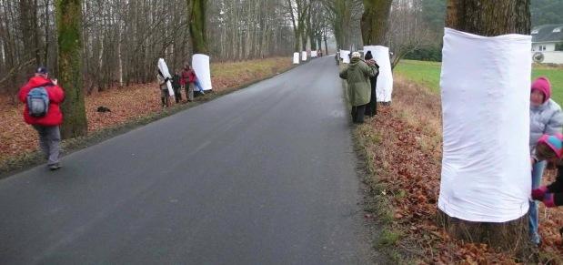 """Wspólna akcja stowarzyszeń: """"Kochajmy Warmię"""", """"Ręką Dzieło"""", """"Sadyba"""" i """"Teatru Węgajty"""" oraz wolontariuszy. Akcja miała zwrócić uwagę na problem masowo wycinanych drzew przydrożnych oraz pokazała, że drzewa pomalowane na biało są bardziej widoczne, co ma wpływ na bezpieczeństwo kierowców, Jonkowo, 30 listopada 2008 r. (Fot. K. A. Worobiec)"""