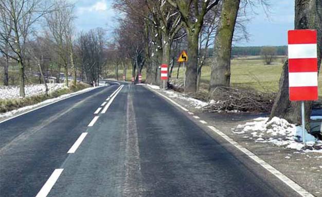 Drzewa rosnące zbyt blisko jezdni zostały oznakowane tablicami, zmodernizowana droga Stare Kiełbonki–Nawiady (Fot. K. A. Worobiec
